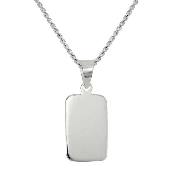Sterling Silver Rectangular Engravable Pendant Necklace 16- 22 Inches