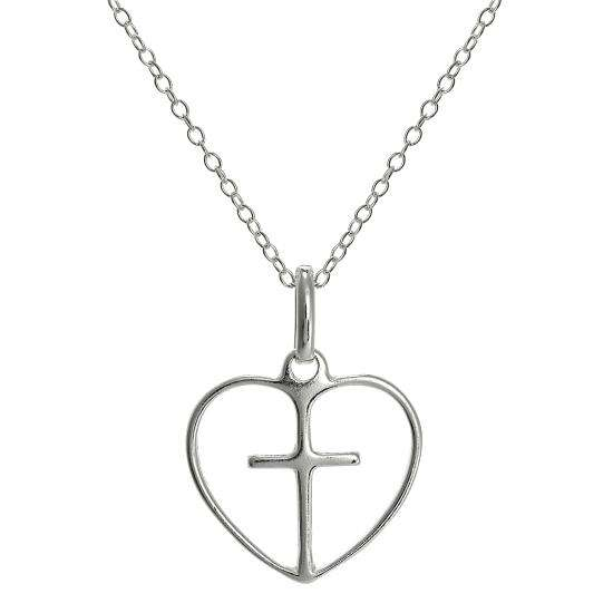 Simple Sterling Silver Open Heart with Cross Pendant on 18 Inch Chain