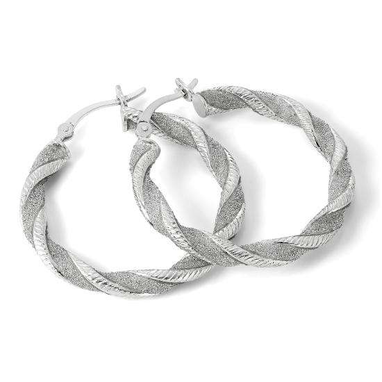 Frosted Sterling Silver Thick Twisted 29mm Hoop Creole Earrings