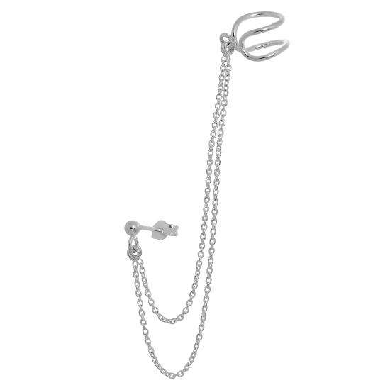 Sterling Silver Ball Stud & Ear Cuff with Chain Earring
