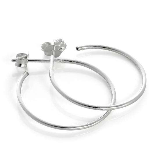 Sterling Silver Open 20mm Hoop Stud Earrings