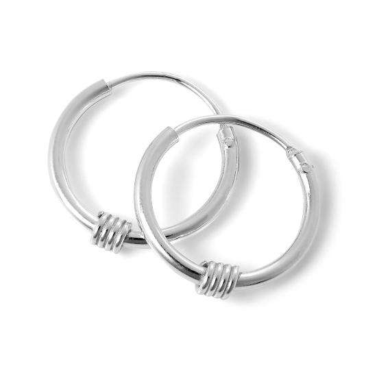 Sterling Silver Sleeper 12mm Hoop Earrings with Wire Coil