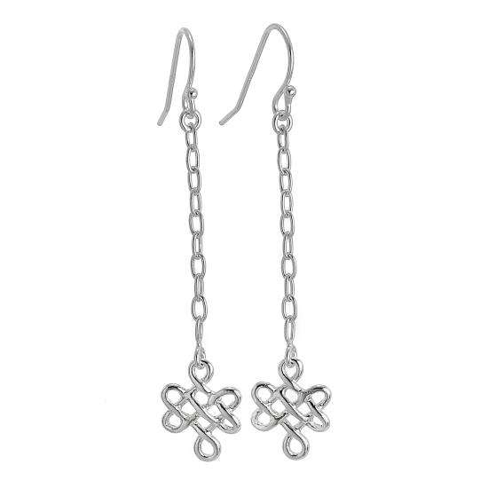 Sterling Silver Wire Knot Dangle Earrings