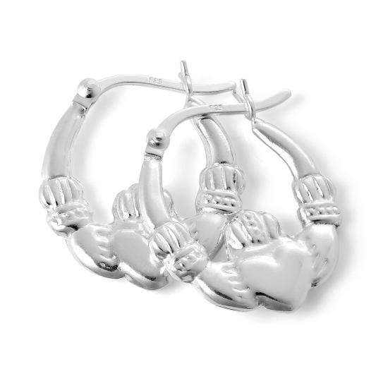 Sterling Silver Claddagh 17mm Hoop Creole Earrings