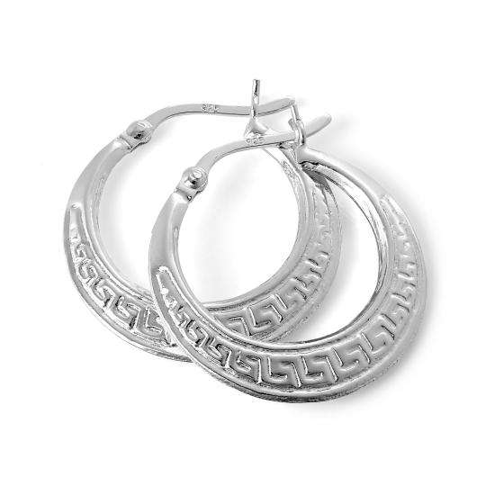 Sterling Silver Patterned Creole 22mm Hoop Earrings