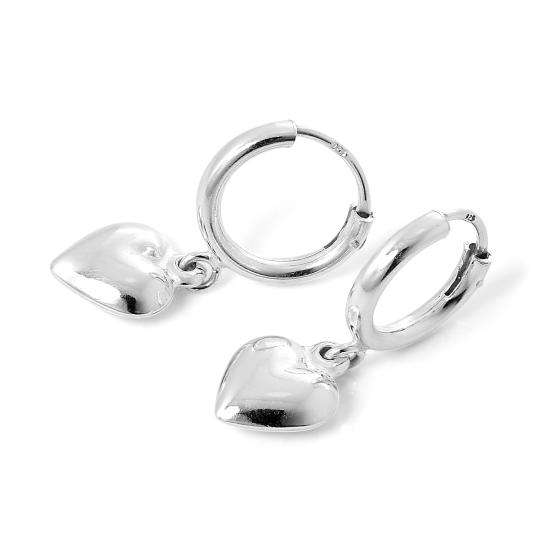 Sterling Silver Sleeper 12mm Hoop Earrings with Puffed Hearts