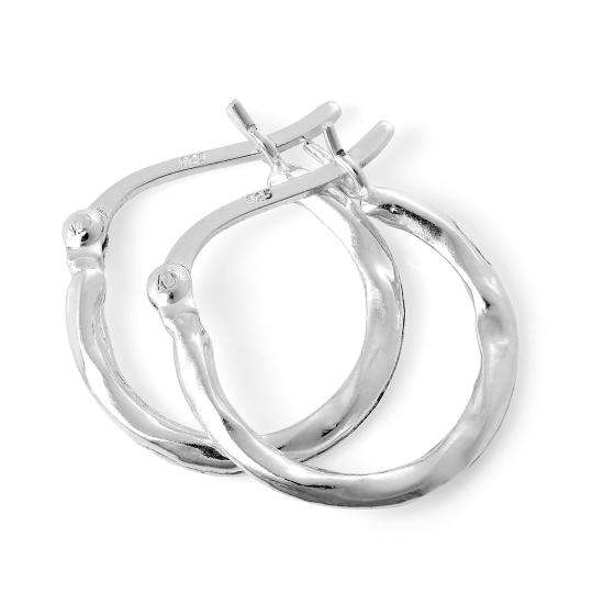 Light Sterling Silver Warped Creole 14mm Hoop Earrings