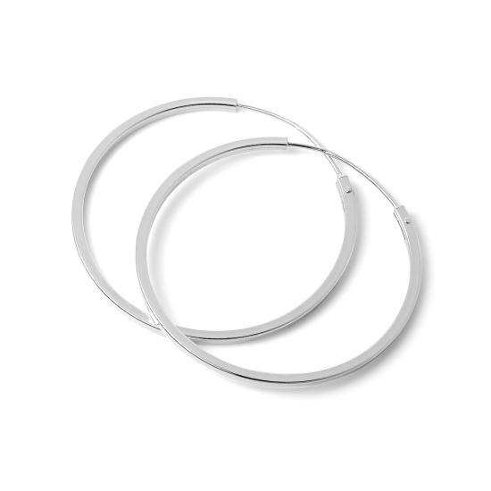 Sterling Silver 1mm Square Sleeper 30mm Hoop Earrings
