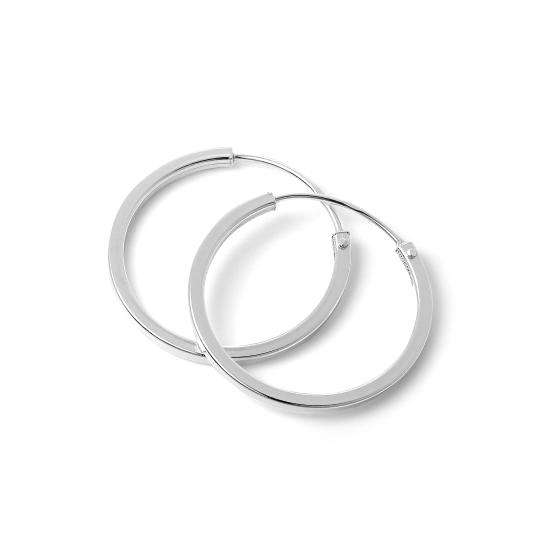 Sterling Silver 1mm Square Sleeper 18mm Hoop Earrings