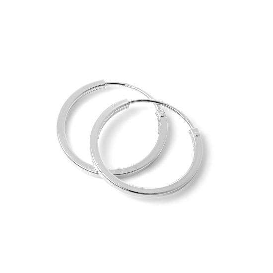 Sterling Silver 1mm Square Sleeper 16mm Hoop Earrings