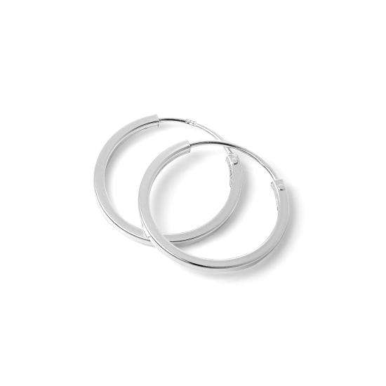 Sterling Silver 1mm Square Sleeper 14mm Hoop Earrings