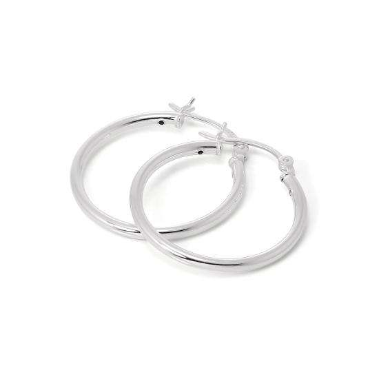 Sterling Silver 25mm Plain Sleeper 2mm Hoop Earrings