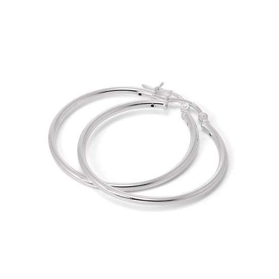 Sterling Silver 35mm Plain Sleeper 2mm Hoop Earrings