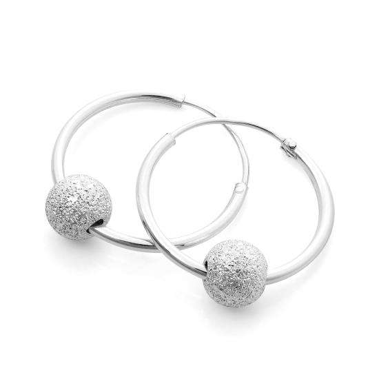 Sterling Silver 18mm Lightweight Sleeper Hoop Earrings with Frosted Bead