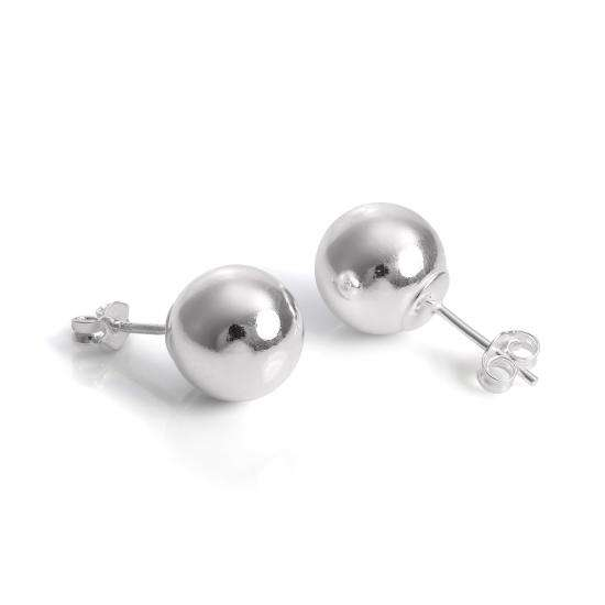 925 Sterling Silver Capped 10mm Ball Stud Earrings