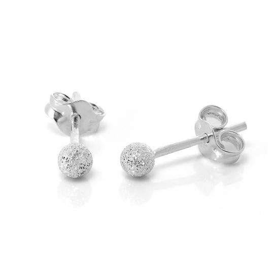 Frosted Sterling Silver Ball Stud Earrings 3mm