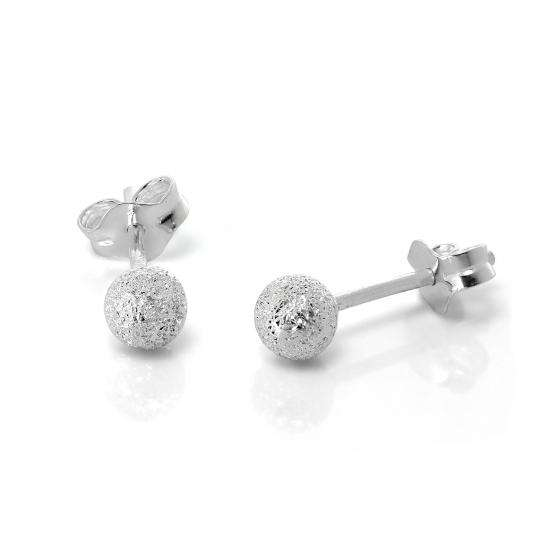Frosted Sterling Silver Ball Stud Earrings 4mm
