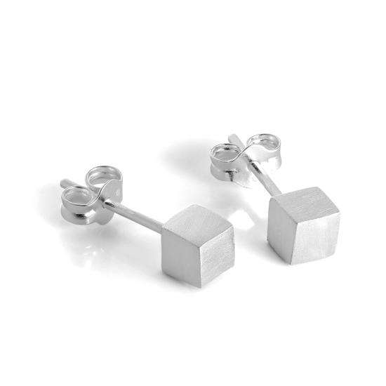 Brushed Matt Sterling Silver 4mm Cube Stud Earrings