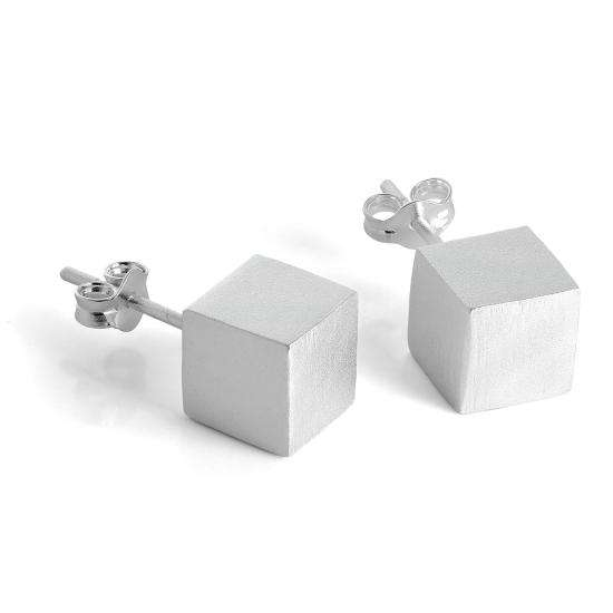 Brushed Matt Sterling Silver 7mm Cube Stud Earrings