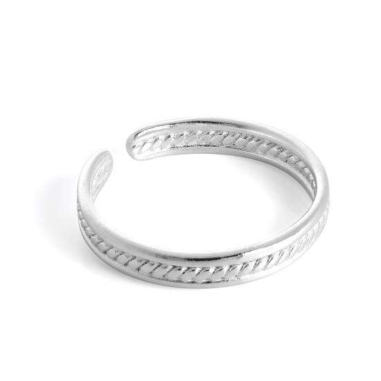 Sterling Silver Ribbed Adjustable 3mm Toe Ring