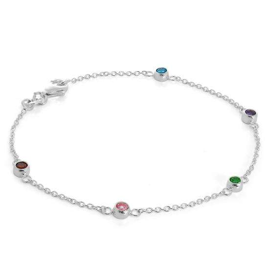 Fine Sterling Silver 7.5 inch Belcher Bracelet with 4mm CZ crystals