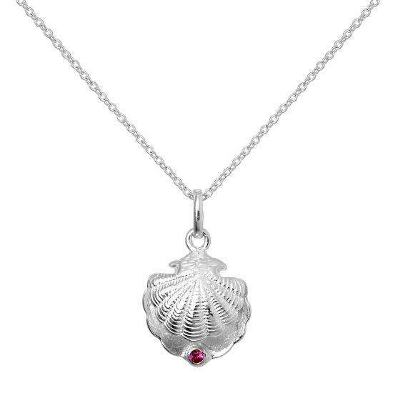 Sterling Silver Oyster Shell with CZ Crystal Ruby Birthstone Necklace