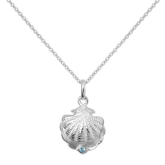 Sterling Silver Oyster Shell with CZ Crystal Aquamarine Birthstone Necklace