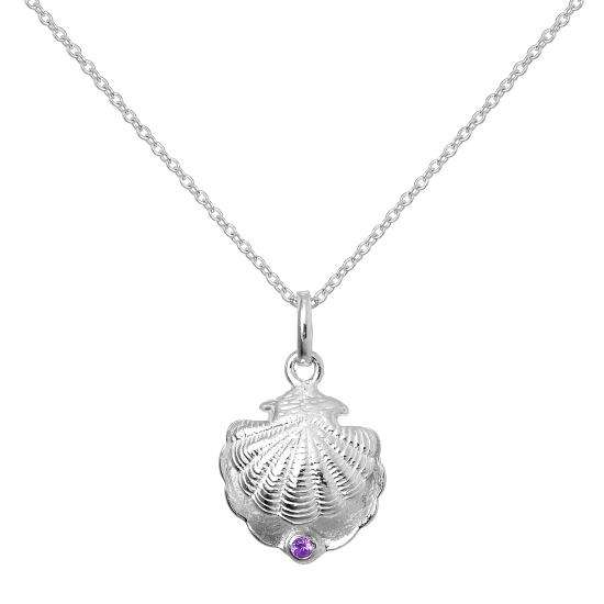 Sterling Silver Oyster Shell with CZ Crystal Amethyst Birthstone Necklace