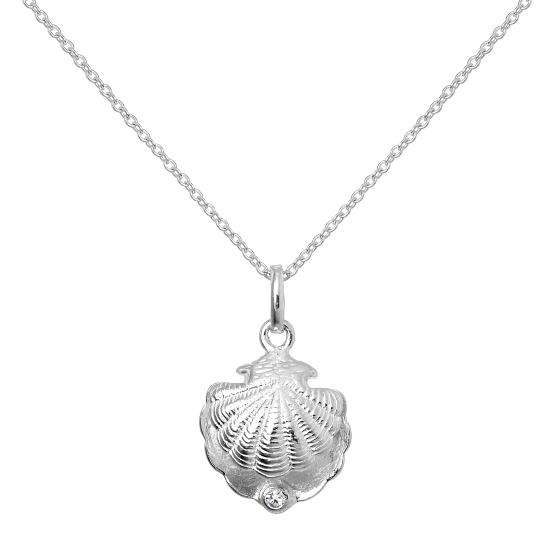 Sterling Silver Oyster Shell with CZ Crystal Clear Birthstone Necklace