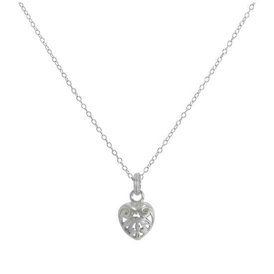 Sterling Silver Open Puffed Heart Pendant Necklace 14 - 32 Inches