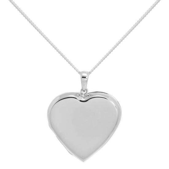 Large Sterling Silver Heart Locket on Diamond Cut Chain 16 - 24 Inches