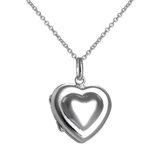 Sterling Silver Double Heart Locket Necklace on Chain