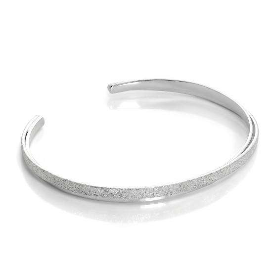 Sterling Silver Double Band Frosted Ladies Bangle