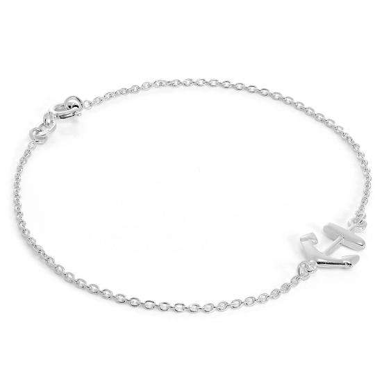 Sterling Silver Belcher Bracelet with Anchor