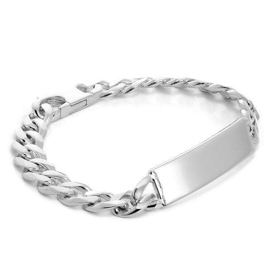 Sterling Silver Heavy 9mm Curb Chain Gents ID Plate Bracelet