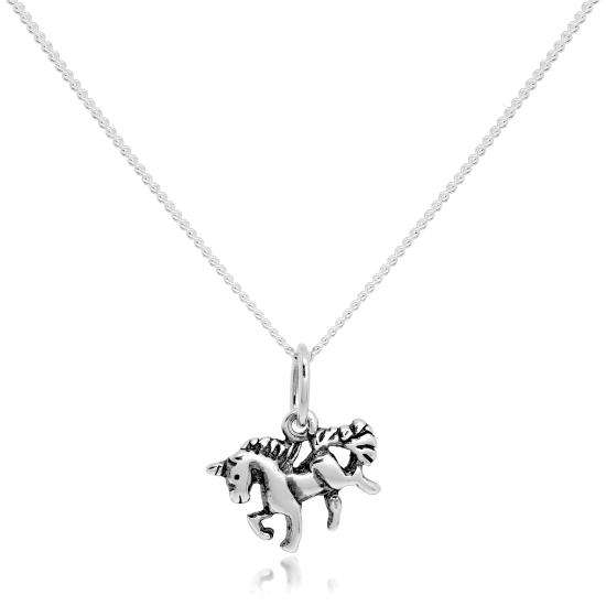 Tiny Sterling Silver Unicorn Pendant on Fine Chain 16 - 22 Inches