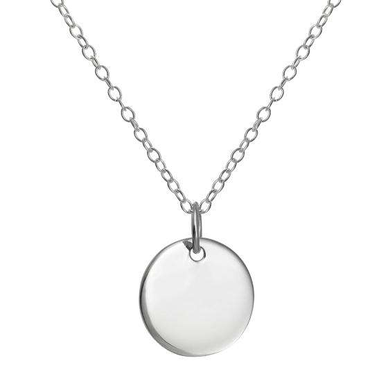 Sterling Silver Round Engravable Pendant on 18 Inch Chain