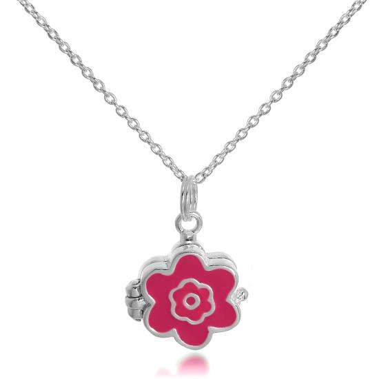 Small Sterling Silver & Enamel Flower Locket on 18 Inch Chain
