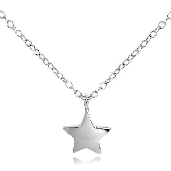 Sterling Silver Star Pendant Necklace on 18 Inch Chain