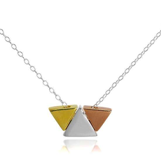 Gold Plated Sterling Silver Trapezium Necklace on 18 Inch Chain