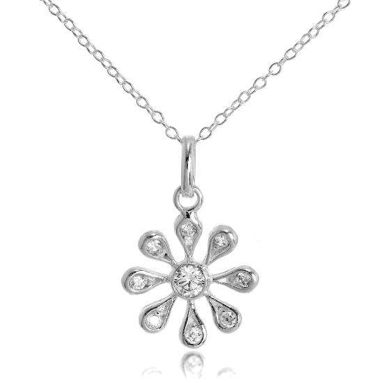 Sterling Silver & CZ Crystals Flower Pendant Necklace on 16 Inch Chain