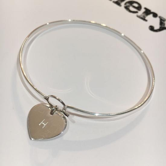 Sterling Silver Hook & Eye Bangle with Engravable Heart Charm