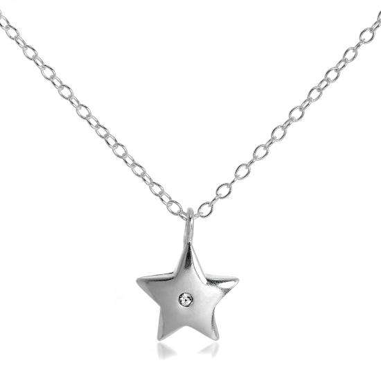 Sterling Silver & CZ Crystal Star Pendant Necklace on 18 Inch Chain