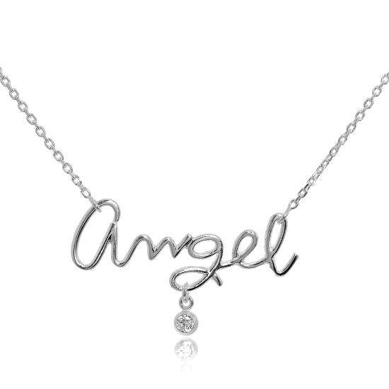 Sterling Silver & CZ Crystal Angel Necklace on 18 Inch Chain