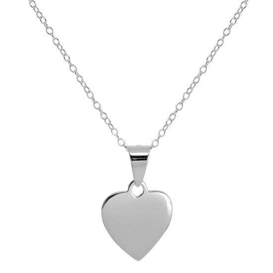 Small Sterling Silver Engravable Heart Necklace on 18 Inch Chain