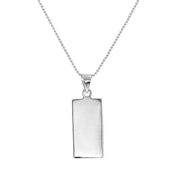 Sterling Silver Rectangular Engravable Pendant Necklace