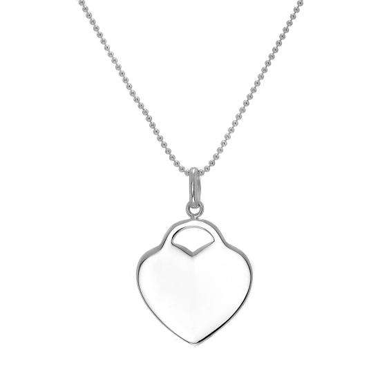 Large Sterling Silver Heart Engravable Pendant Necklace