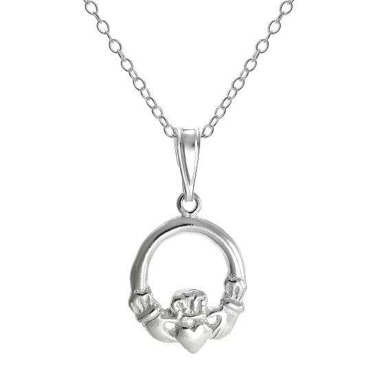 Sterling Silver Round Claddagh Pendant Necklace on 18 Inch Chain