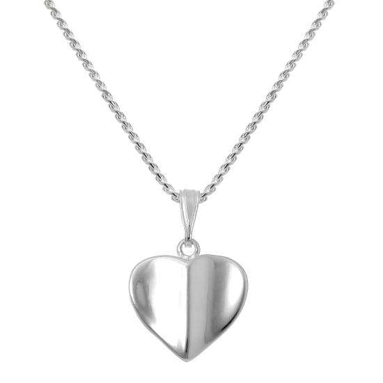 Sterling Silver Heart Pendant Necklace 16 - 22 Inches
