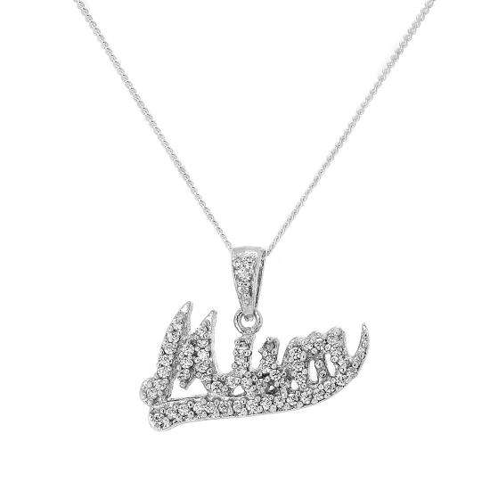 Sterling Silver & CZ Crystal Encrusted Mum Pendant Necklace